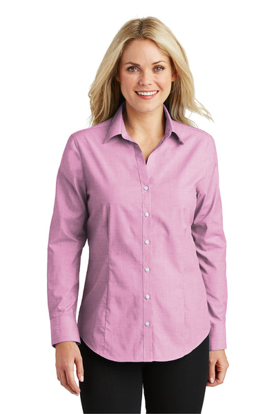 Port Authority L640 Womens Easy Care Wrinkle Resistant Long Sleeve Button Down Shirt Pink Orchid Front