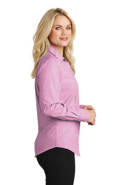 Port Authority L640 Womens Easy Care Wrinkle Resistant Long Sleeve Button Down Shirt Pink Orchid Side