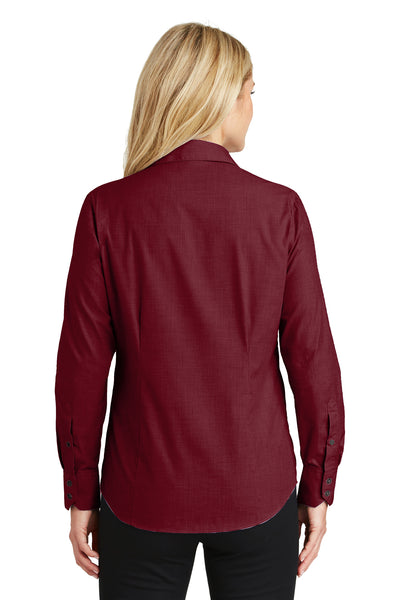 Port Authority L640 Womens Easy Care Wrinkle Resistant Long Sleeve Button Down Shirt Red Oxide Back