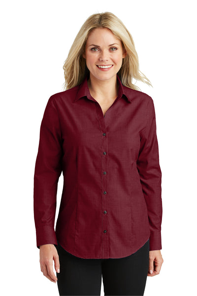Port Authority L640 Womens Easy Care Wrinkle Resistant Long Sleeve Button Down Shirt Red Oxide Front