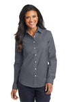 Port Authority L658 Womens SuperPro Oxford Wrinkle Resistant Long Sleeve Button Down Shirt Black Front