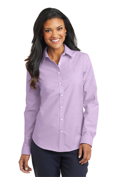 Port Authority L658 Womens SuperPro Oxford Wrinkle Resistant Long Sleeve Button Down Shirt Purple Front