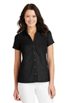 Port Authority L662 Womens Wrinkle Resistant Short Sleeve Button Down Camp Shirt Black Front