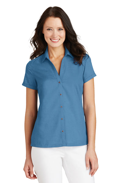 Port Authority L662 Womens Wrinkle Resistant Short Sleeve Button Down Camp Shirt Celadon Blue Front