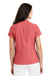Port Authority L662 Womens Wrinkle Resistant Short Sleeve Button Down Camp Shirt Coral Pink Back