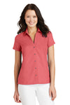Port Authority L662 Womens Wrinkle Resistant Short Sleeve Button Down Camp Shirt Coral Pink Front