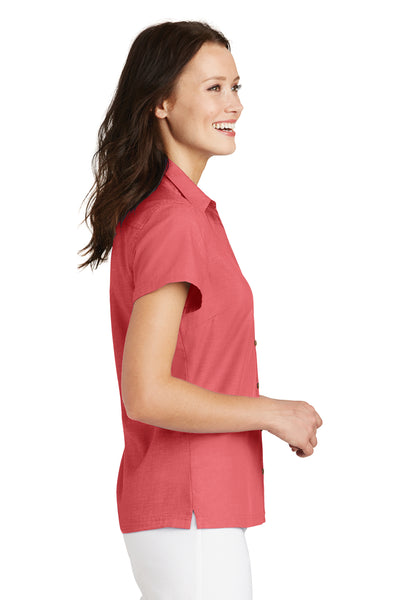 Port Authority L662 Womens Wrinkle Resistant Short Sleeve Button Down Camp Shirt Coral Pink Side