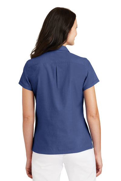 Port Authority L662 Womens Wrinkle Resistant Short Sleeve Button Down Camp Shirt Royal Blue Back