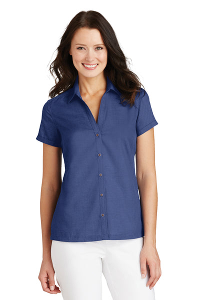Port Authority L662 Womens Wrinkle Resistant Short Sleeve Button Down Camp Shirt Royal Blue Front
