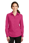 Port Authority L663 Womens SuperPro Wrinkle Resistant Long Sleeve Button Down Shirt Azalea Pink Front