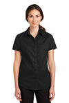 Port Authority L664 Womens SuperPro Wrinkle Resistant Short Sleeve Button Down Shirt Black Front
