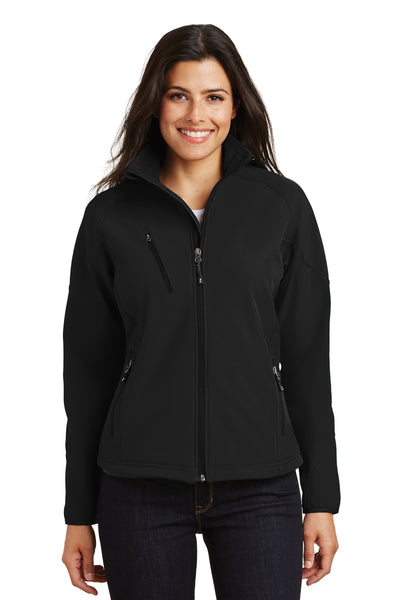 Port Authority L705 Womens Wind & Water Resistant Full Zip Jacket Black Front