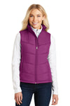Port Authority L709 Womens Wind & Water Resistant Full Zip Puffy Vest Berry Pink Front