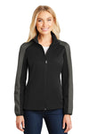 Port Authority L718 Womens Active Wind & Water Resistant Full Zip Jacket Black/Grey Front