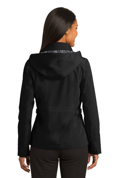 Port Authority L764 Womens Legacy Wind & Water Resistant Full Zip Hooded Jacket Black Back