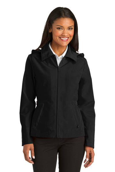 Port Authority L764 Womens Legacy Wind & Water Resistant Full Zip Hooded Jacket Black Front