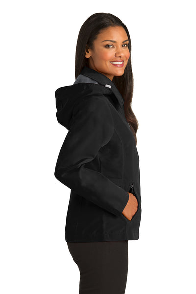 Port Authority L764 Womens Legacy Wind & Water Resistant Full Zip Hooded Jacket Black Side