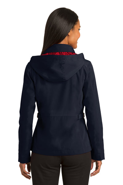Port Authority L764 Womens Legacy Wind & Water Resistant Full Zip Hooded Jacket Navy Blue Back