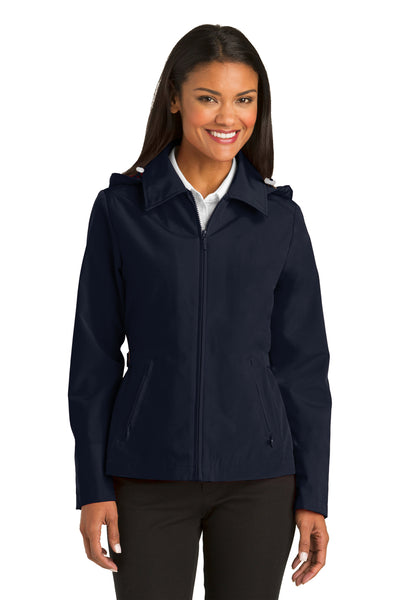 Port Authority L764 Womens Legacy Wind & Water Resistant Full Zip Hooded Jacket Navy Blue Front