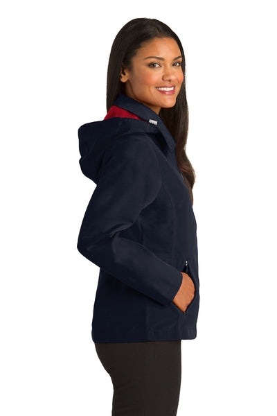 Port Authority L764 Womens Legacy Wind & Water Resistant Full Zip Hooded Jacket Navy Blue Side
