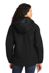 Port Authority L792 Womens Nootka Waterproof Full Zip Hooded Jacket Black Back