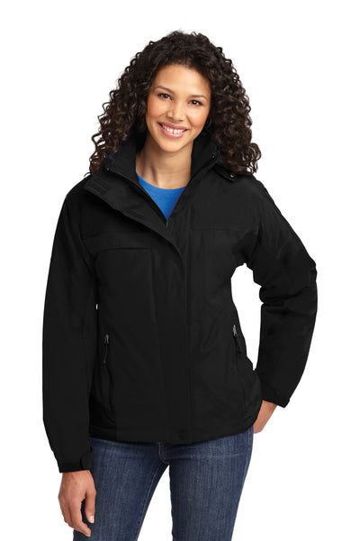 Port Authority L792 Womens Nootka Waterproof Full Zip Hooded Jacket Black Front