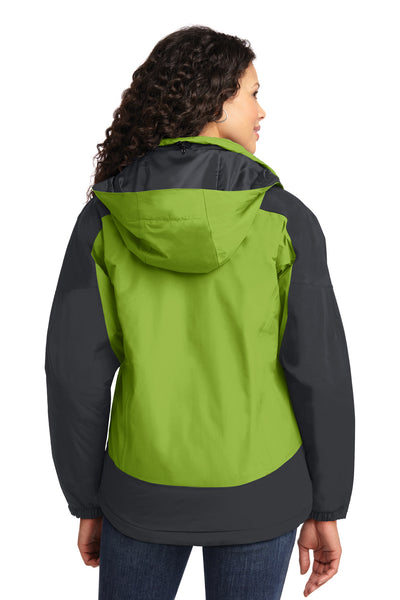 Port Authority L792 Womens Nootka Waterproof Full Zip Hooded Jacket Pistachio Green/Grey Back