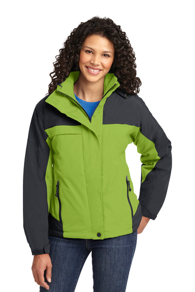 Port Authority L792 Womens Nootka Waterproof Full Zip Hooded Jacket Pistachio Green/Grey Front