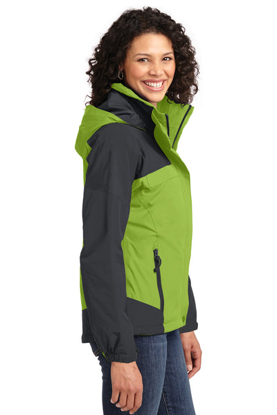 Port Authority L792 Womens Nootka Waterproof Full Zip Hooded Jacket Pistachio Green/Grey Side