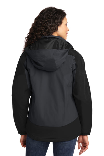 Port Authority L792 Womens Nootka Waterproof Full Zip Hooded Jacket Graphite Grey/Black Back