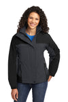 Port Authority L792 Womens Nootka Waterproof Full Zip Hooded Jacket Graphite Grey/Black Front