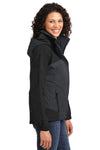 Port Authority L792 Womens Nootka Waterproof Full Zip Hooded Jacket Graphite Grey/Black Side