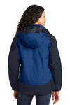 Port Authority L792 Womens Nootka Waterproof Full Zip Hooded Jacket Regatta Blue/Navy Blue Back