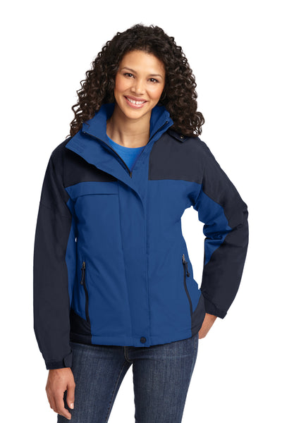 Port Authority L792 Womens Nootka Waterproof Full Zip Hooded Jacket Regatta Blue/Navy Blue Front