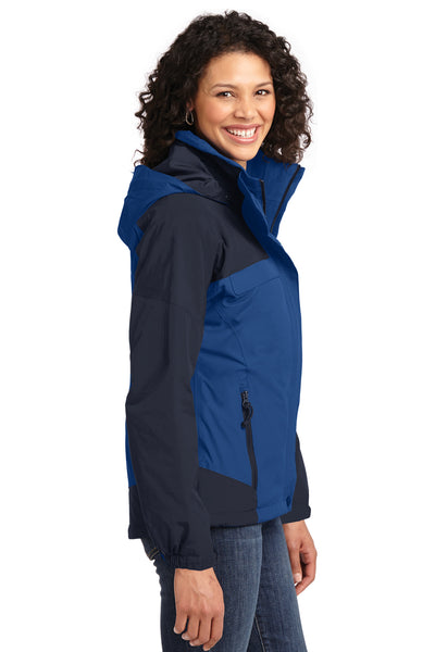 Port Authority L792 Womens Nootka Waterproof Full Zip Hooded Jacket Regatta Blue/Navy Blue Side