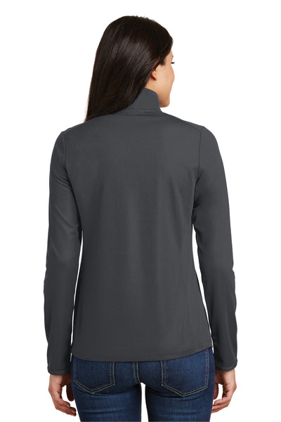 Port Authority L806 Womens Moisture Wicking 1/4 Zip Sweatshirt Battleship Grey Back