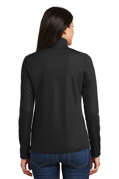 Port Authority L806 Womens Moisture Wicking 1/4 Zip Sweatshirt Black Back