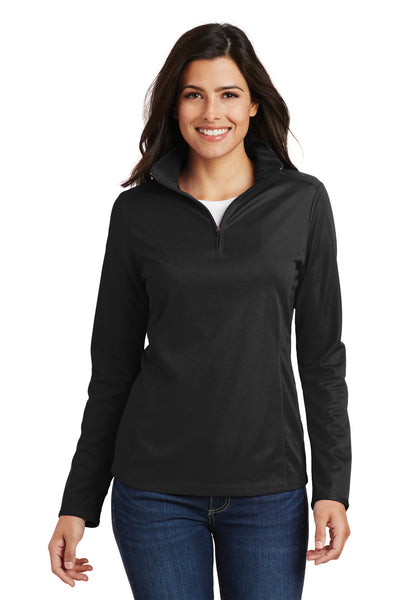 Port Authority L806 Womens Moisture Wicking 1/4 Zip Sweatshirt Black Front