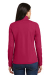 Port Authority L806 Womens Moisture Wicking 1/4 Zip Sweatshirt Fuchsia Pink Back