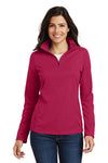 Port Authority L806 Womens Moisture Wicking 1/4 Zip Sweatshirt Fuchsia Pink Front