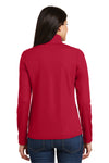 Port Authority L806 Womens Moisture Wicking 1/4 Zip Sweatshirt Red Back
