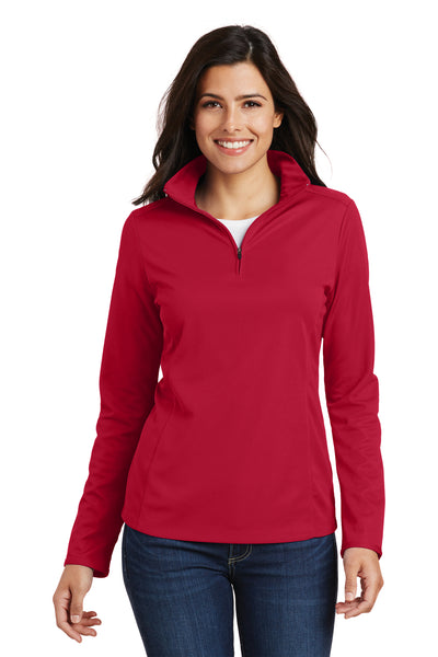 Port Authority L806 Womens Moisture Wicking 1/4 Zip Sweatshirt Red Front
