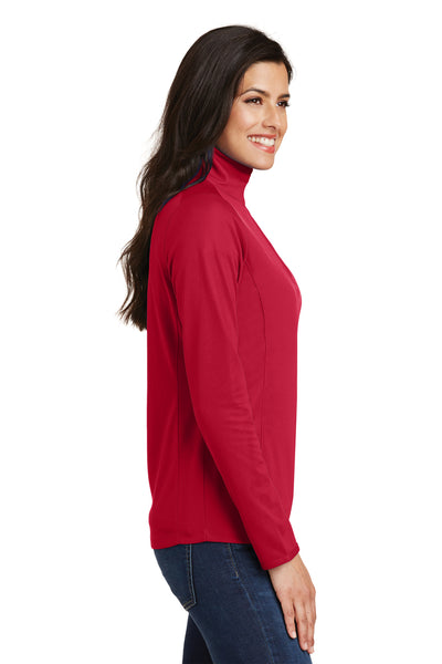 Port Authority L806 Womens Moisture Wicking 1/4 Zip Sweatshirt Red Side