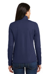 Port Authority L806 Womens Moisture Wicking 1/4 Zip Sweatshirt Navy Blue Back