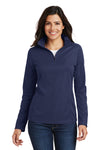 Port Authority L806 Womens Moisture Wicking 1/4 Zip Sweatshirt Navy Blue Front