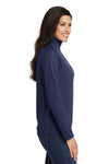 Port Authority L806 Womens Moisture Wicking 1/4 Zip Sweatshirt Navy Blue Side