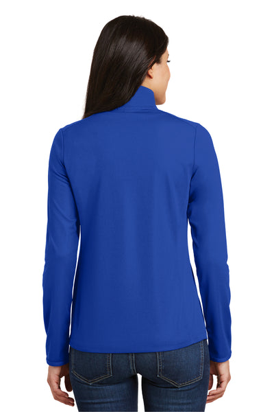 Port Authority L806 Womens Moisture Wicking 1/4 Zip Sweatshirt Royal Blue Back