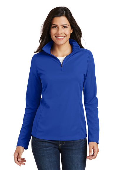 Port Authority L806 Womens Moisture Wicking 1/4 Zip Sweatshirt Royal Blue Front