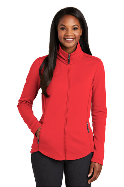 Port Authority L904 Womens Collective Full Zip Smooth Fleece Jacket Pepper Red Front