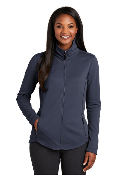 Port Authority L904 Womens Collective Full Zip Smooth Fleece Jacket River Blue Front